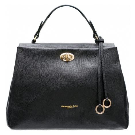 Dámská kožená kabelka s otočným zapínáním do ruky - černá Glamorous