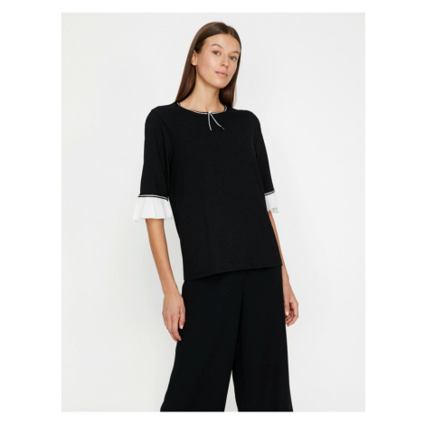 Koton Women's Black Pearl Detail T-Shirt