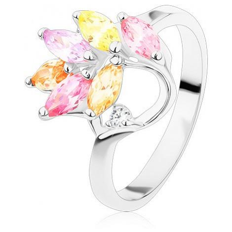 Prsten s lesklými rameny, barevné zirkonové lístky na větvičce Šperky eshop