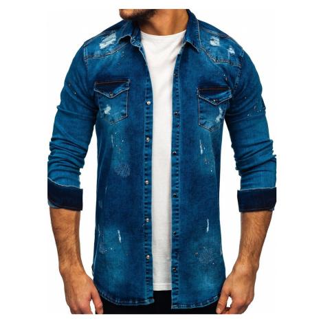 Tmavě modrá pánská džínová košile s dlouhým rukávem Bolf R800 RWX