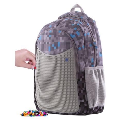 PIXIE CREW Kreativní studentský batoh Minecraft šedo-modrý  + Brožurka kreativních nápadů + 200