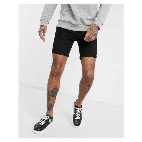 Brave Soul skinny fit denim shorts in black