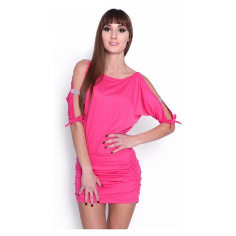 Krátké šaty s mašličkou a flitry na rukávech barva růžová Oxyd