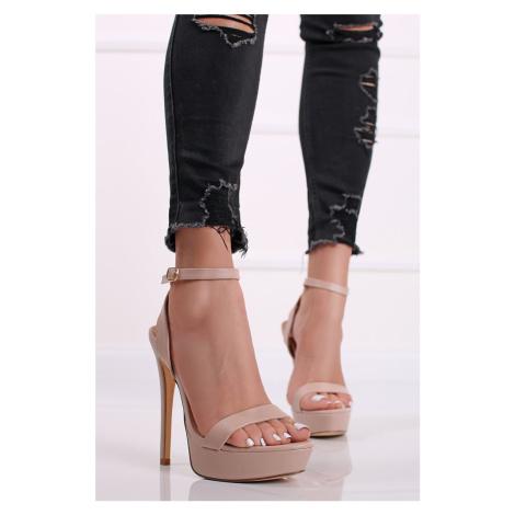 Béžové sandály na tenkém podpatku Katty