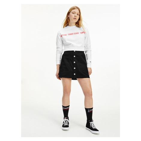 Tommy Hilfiger Tommy Jeans dámská černá sukně TJW BADGE BUTTON THROUGH SKIRT