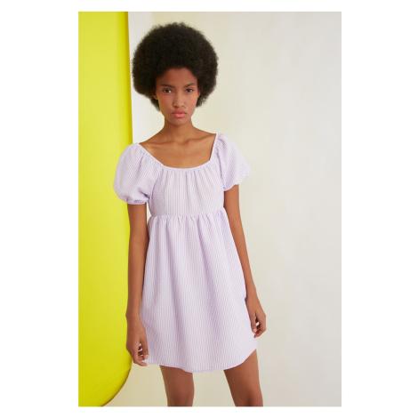 Trendyol Lilac Sleeve Ruffle Striped Dress