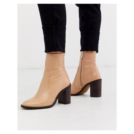 River Island heeled leather sock boot in cream-Beige