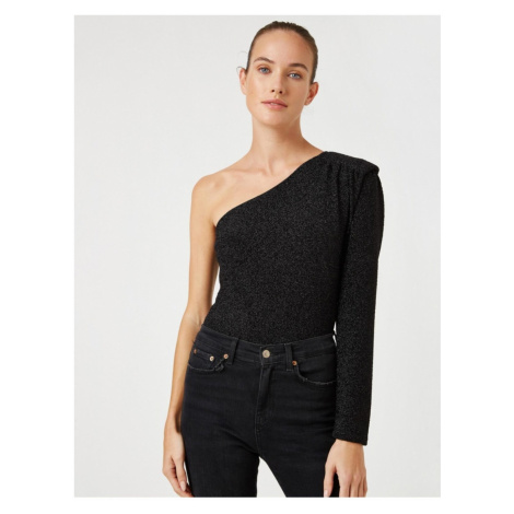 Koton Long Sleeve One Shoulder Blouse With Padded