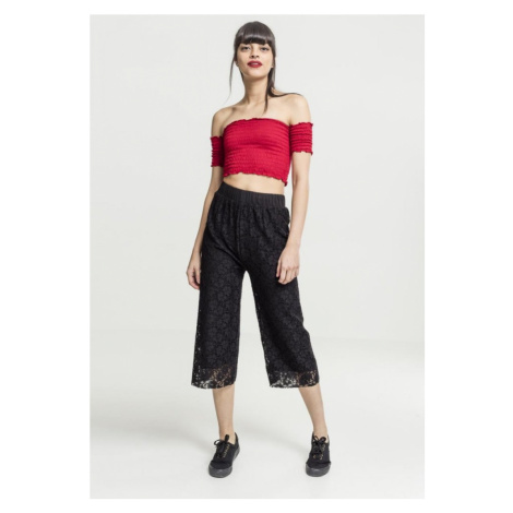 Ladies Cropped Cold Shoulder Smoke Top - fire red Urban Classics