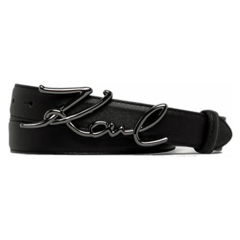 Černý kožený pásek s černou sponou - KARL LAGERFELD