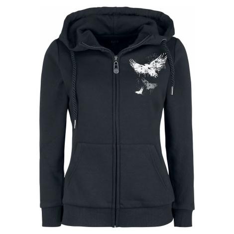 Black Premium by EMP Bunda s kapucí a potiskem s krkavci Dámská mikina s kapucí na zip černá