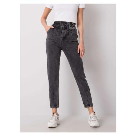 Tmavě šedé dámské džíny 334-SP-079.55P-gray Rue Paris