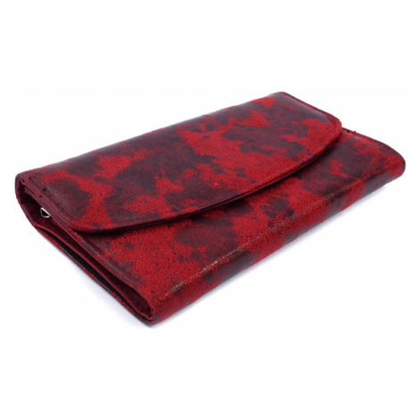 Tmavěčervená dámská rámová peněženka s klopnou Helen HG Style