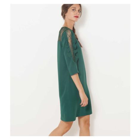 Tmavě zelené šaty s krajkou a 3/4 rukávem CAMAIEU Camaïeu