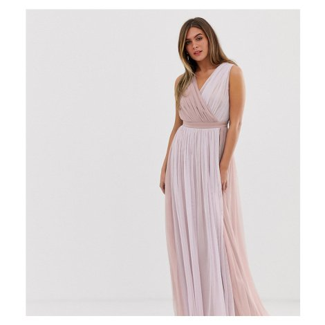 Anaya With Love contrast tulle wrap front maxi dress with satin trim in tonal-Multi