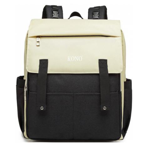 Černo-béžový multifunkční batoh s nabíjením přes USB