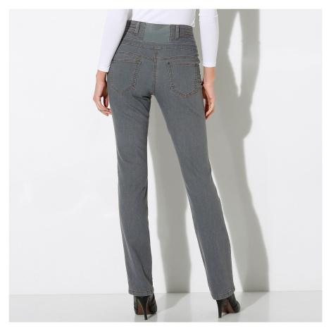 Blancheporte Rovné džíny s vysokým pasem šedý melír