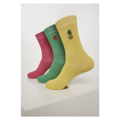 Urban Classics Fun Embroidery Socks 3-Pack Lightyellow/green/pink