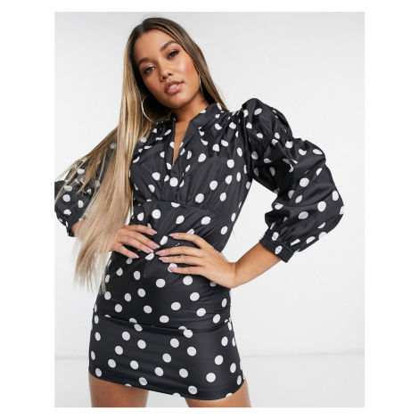 Lioness wrap front frill mini tea dress with puff sleeves in black polka print-Multi