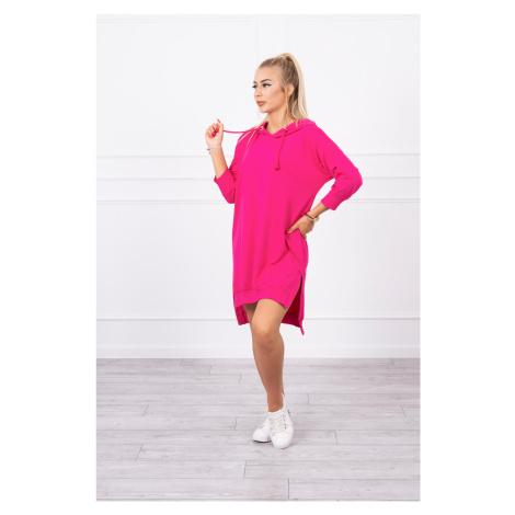 Mikinové šaty s rozparkem růžové Kesi