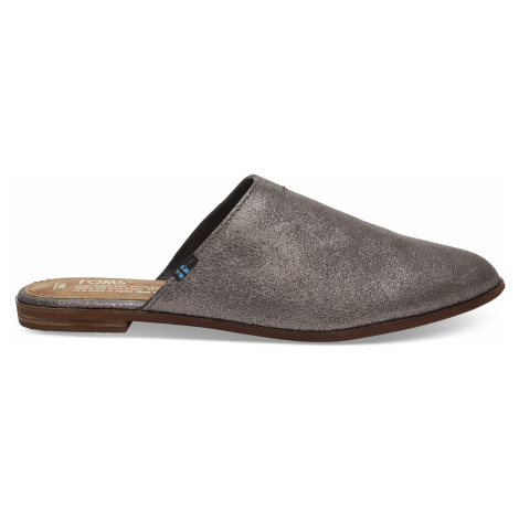 Pewter Metallic Leather Women's jutti mules Toms