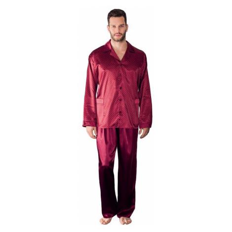 Pánské saténové pyžamo Charles vínové Luna