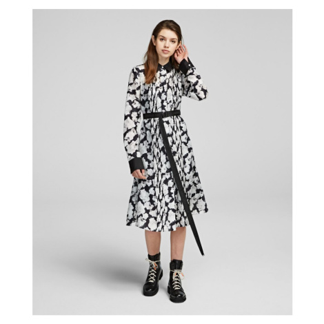 Šaty Karl Lagerfeld Orchid Print Silk Shirt Dress - Růžová