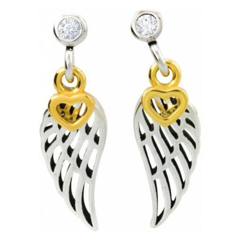 Linda's Jewelry Stříbrné náušnice pecky Angel Wings Love IN055