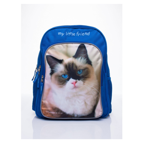 Blue backpack for a girl with a kitten print Fashionhunters