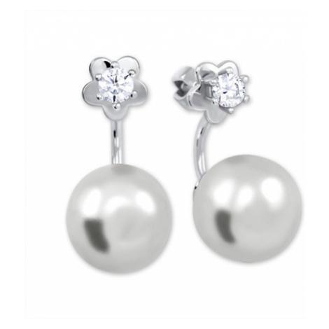 Brilio Silver Stříbrné náušnice se syntetickou perlou a čirým krystalem 001 04