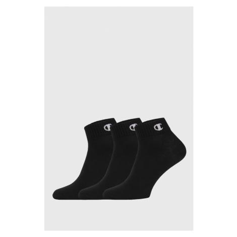 3 PACK kotníkových černých ponožek Champion
