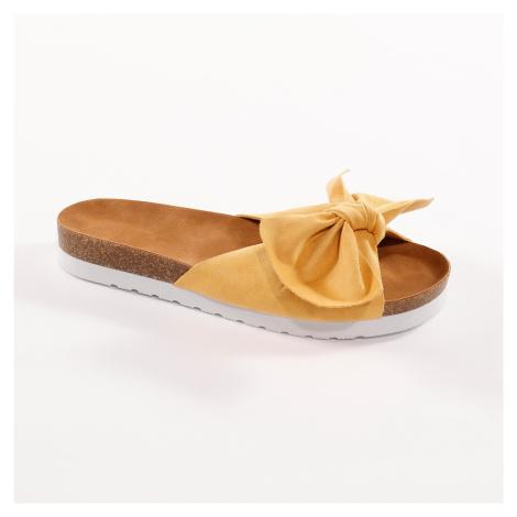Blancheporte Pantofle s mašlí, žluté kari