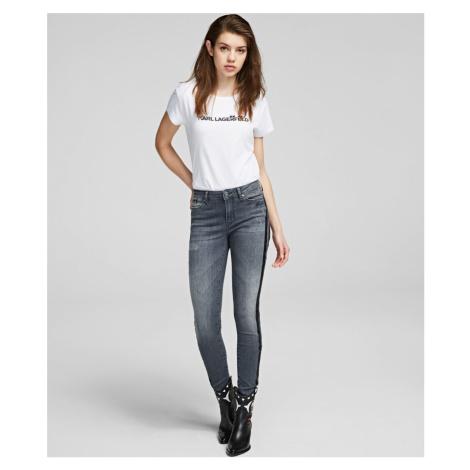 Džíny Karl Lagerfeld Skinny Denim W/Sparkle Stripes - Šedá