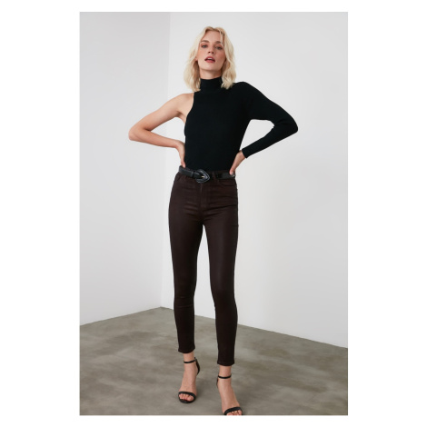 Trendyol Brown Coated High Waist Skinny Jeans