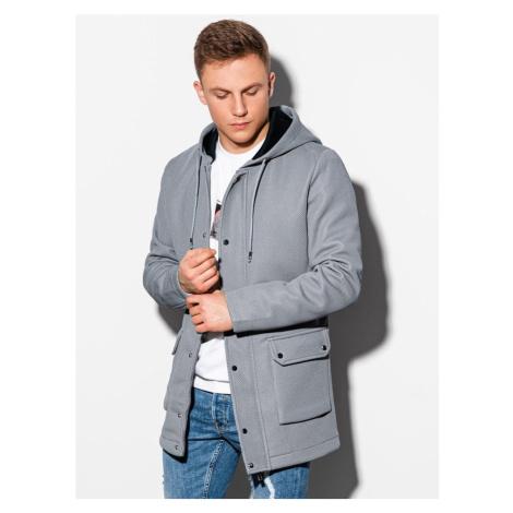 Ombre Clothing Nádherný kabát v šedé barvě C454