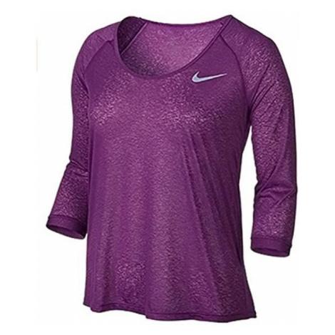 Dámské tričko s 3/4 rukávem Nike Dri-FIT Cool Breeze Fialová / Bílá