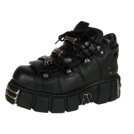NEW ROCK String Shoes (106-S1) Black Černá