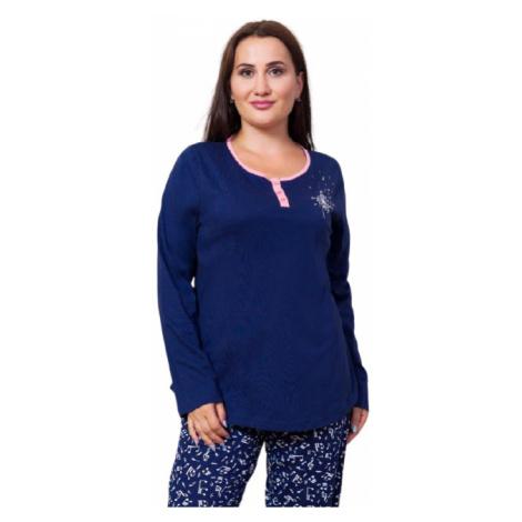Dámské pyžamo dlouhé Vienetta Secret Melodie | tmavě modrá