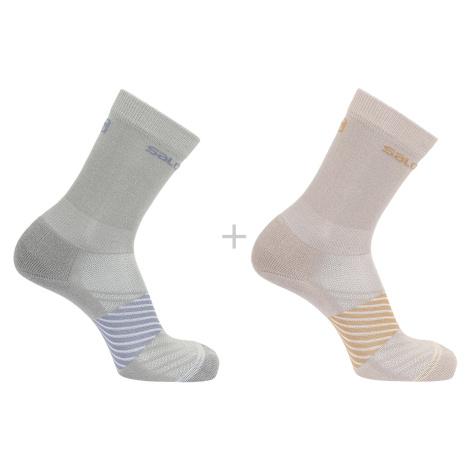 Ponožky Salomon XA 2-PACK - šedá/růžová