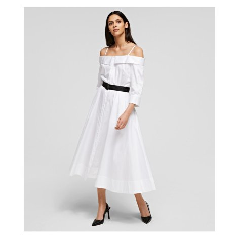 Šaty Karl Lagerfeld Cold Shoulder Shirt Dress - Bílá