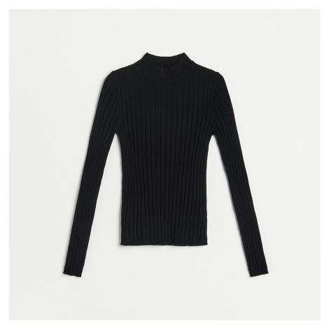 Reserved - Přiléhavý svetr se stojáčkem - Černý
