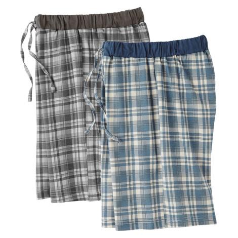 Blancheporte Domácí šortky, sada 2 ks kostka modrá+šedá