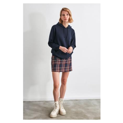 Trendyol Navy Hooded Knitted Sweatshirt