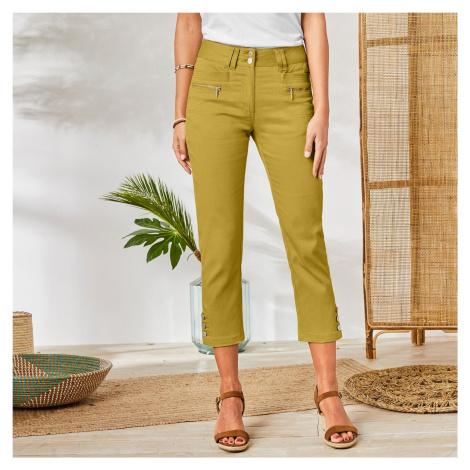 Blancheporte 3/4 barevné kalhoty s knoflíky na koncích nohavic medová