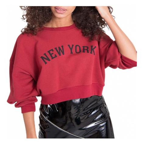 Tmavě červená dámská mikina new york