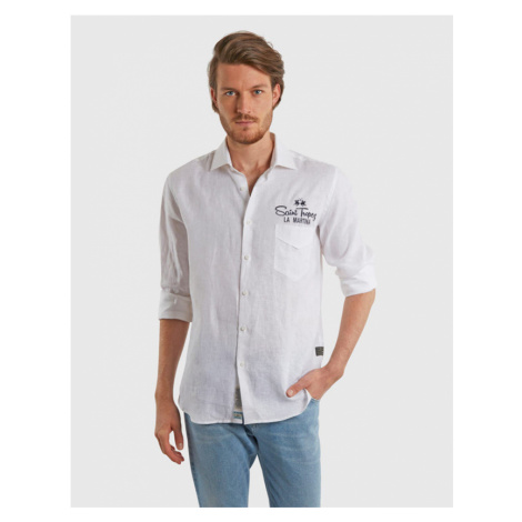 Košile La Martina Man L/S Shirt Light Linen - Bílá