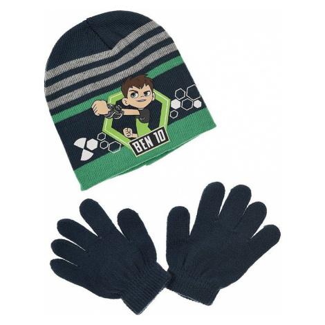Modro-zelená sada čepice a rukavic ben