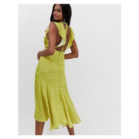 ASOS DESIGN midi dress with knot front detail in satin spot print-Multi