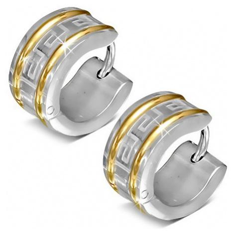 Kruhové náušnice z chirurgické oceli, dvě linie zlaté barvy, řecký klíč Šperky eshop