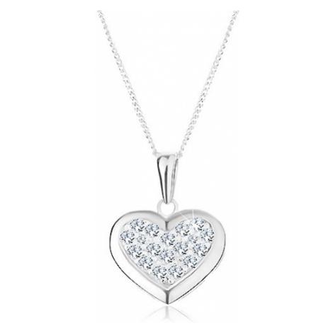 Stříbrný 925 náhrdelník, přívěsek na řetízku, souměrné srdce zdobené zirkony Šperky eshop